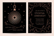 Christmas celebration. New Year invitation card for the party. Vector template for greeting card with text. Pink Christmas ball and stylized branches of a Christmas tree on a black background
