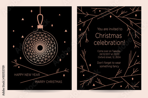 christmas celebration new year invitation card for the party vector template for greeting card