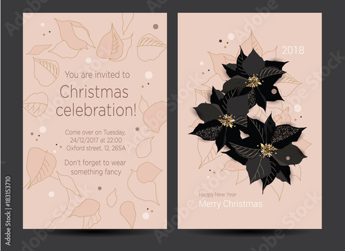 new year invitation card for the party christmas celebration vector template for greeting card