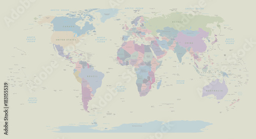 Vintage political World map. EPS 10 vector - 183155539
