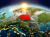 Poland from space in sunrise - 183157117
