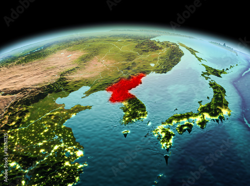 North Korea on planet Earth in space