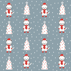 cute cartoon christmas seamless vector pattern background illustration with greeting cats and trees