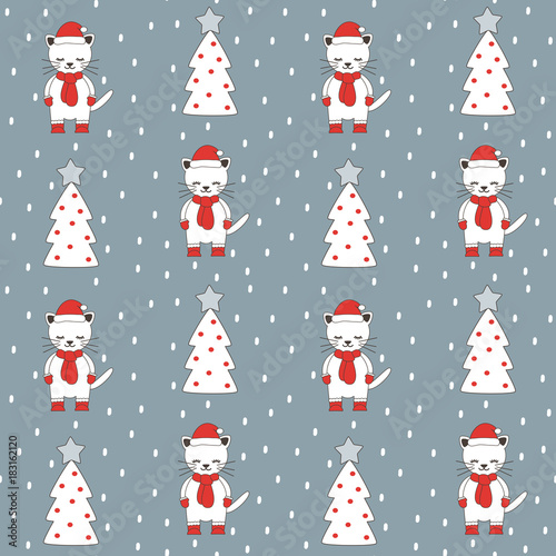 Fototapeta cute cartoon christmas seamless vector pattern background illustration with greeting cats and trees