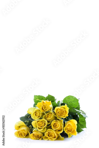 A classic bouquet of yellow roses rotating against white background. vertical copy space on top