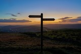 North-south signposts on the Pennine Way, along the backbone of England. - 183165335
