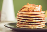 Pancakes with apple on table. Breakfast, snacks. Pancakes Day. - 183165713