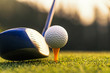 Golfers hit sweeping and keep golf course in the summer for relax time