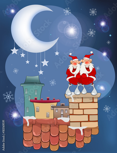 Foto op Aluminium Babykamer Illustration of the Cute Santa Claus on the Roof