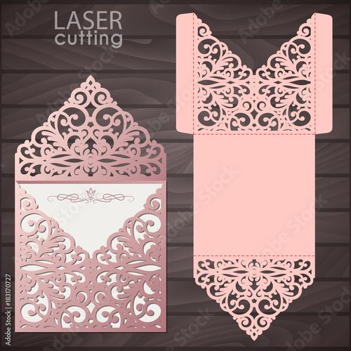 Laser Cut Wedding Invitation Envelope Template Vector Wedding