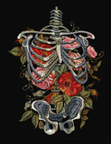 Gothic embroidery skeleton ribs and flowers. Fashionable clothes, t-shirt design, beautiful flowers, renaissance style vector. Embroidery human rib cage with red roses - 183172512
