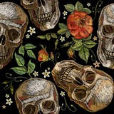 Embroidery skull and roses seamless pattern. Gothic romanntic embroidery human skulls red roses and pink peonies pattern, clothes template and t-shirt design. Dia de muertos, day of the dead art - 183172529