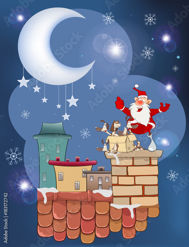 Staande foto Babykamer Illustration of the Cute Santa Claus and a Box of Puppies on the Roof
