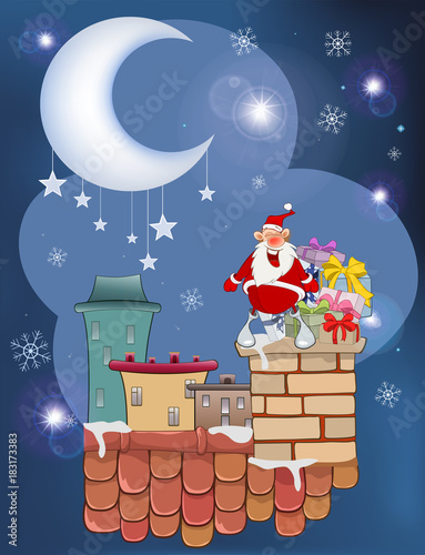 Staande foto Babykamer Illustration of the Cute Santa Claus on the Roof