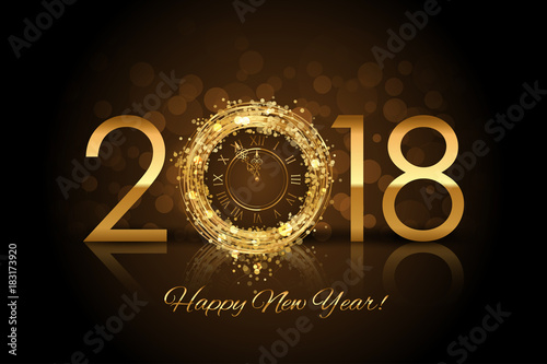 vector happy new year 2018 new year background with gold clock