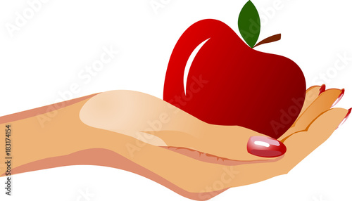 Hand with apple. Vector illustration - 183174154