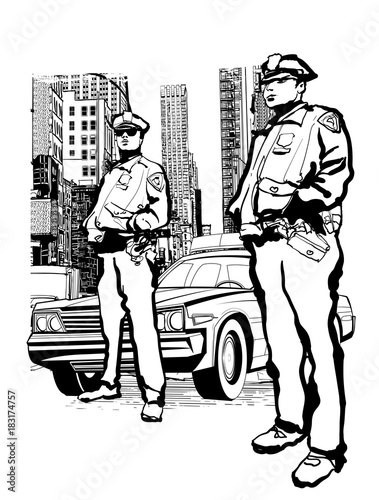 In de dag Art Studio Policemen in the 5th avenue in New York