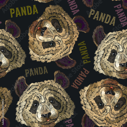 Embroidery panda head seamless pattern. Fashion template for clothes, textiles, t-shirt design. Classical embroidery portrait of funny panda bear pattern