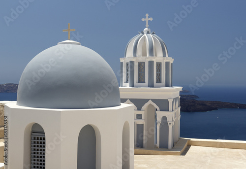 Deurstickers Santorini Roofs Greece