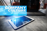 Company culture text on virtual screen. Business, technology and internet concept.? - 183180312