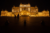 Hungarian Parliament Building Illuminated at Night in Budapest - 183181156