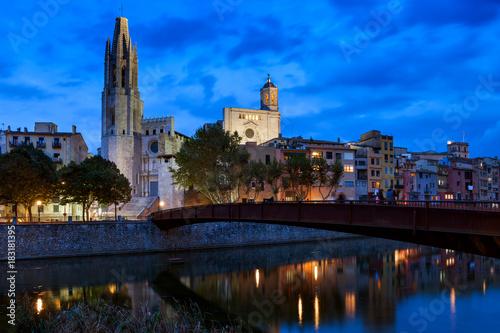 Girona City By Night in Catalonia, Spain