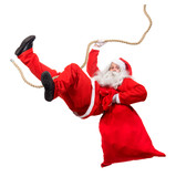 Funny Santa Claus cling on rope with a bag full of x-mas gifts. Falling Santa carry sack with gift box. - 183185116