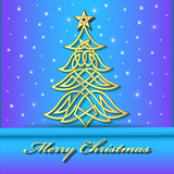 illustration festive background with Christmas tree of Celtic weave gold  pattern - 183200735