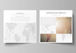 The minimalistic vector illustration of the editable layout of two square format covers design templates for brochure, flyer, booklet. Global network connections, technology background with world map.