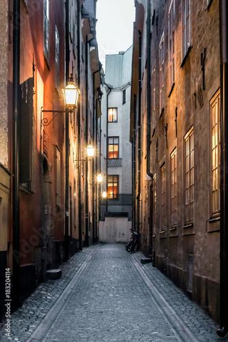 Staande foto Smal steegje small road in old town stockholm