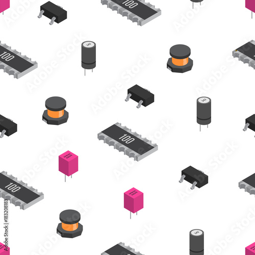 Vector Seamless Pattern Of Izometric Electronic Components