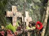 Cross memorial to prisoner of war at Hellfire Pass, Kanchanaburi, Thailand