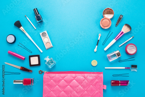 Fototapeta Beautiful make up bag with cosmetics