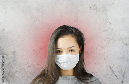 Woman wearing face mask, epidemia concept
