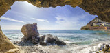 natural rock grotto on the beach on Playa del Cura, near playa Amadores  ,Puerto Rico town, Gran Canaria, Canary Islands. Spain