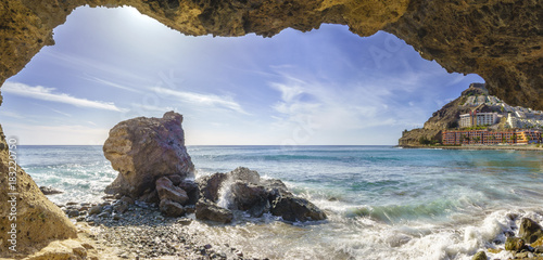 Staande foto Tropical strand natural rock grotto on the beach on Playa del Cura, near playa Amadores ,Puerto Rico town, Gran Canaria, Canary Islands. Spain
