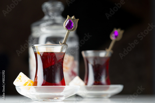 Fototapeta Traditional turkish tea close up
