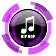 Hip hop pink violet modern design vector web and smartphone icon. Round button in eps 10 isolated on white background.