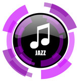 Jazz music pink violet modern design vector web and smartphone icon. Round button in eps 10 isolated on white background. - 183221919