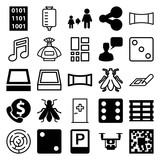 Set of 25 square filled and outline icons - 183225744