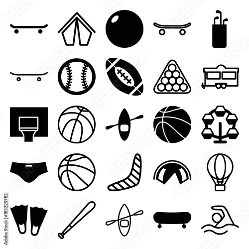 Set of 25 recreation filled and outline icons