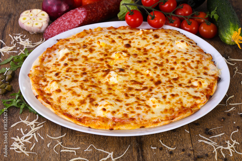 Four cheese pizza Poster