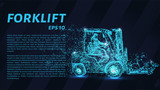 Forklift of particles. Forklift consists of circles and points. Vector illustration