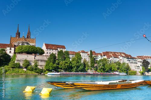 Plexiglas Schip Boats on the river Rhine in Basel, Switzerland