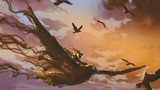 man on the giant bird flying in the evening sky, digital art style, illustration painting - 183229306