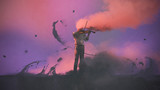 surreal concept of the mystery musician with colored smoke playing a violin, digital art style, illustration painting - 183229340