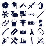 Set of 25 steel filled icons