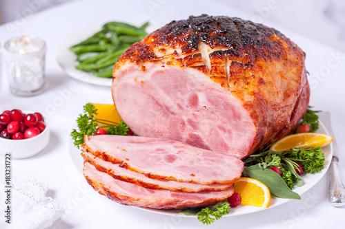 Christmas Roasted glazed holiday pork ham