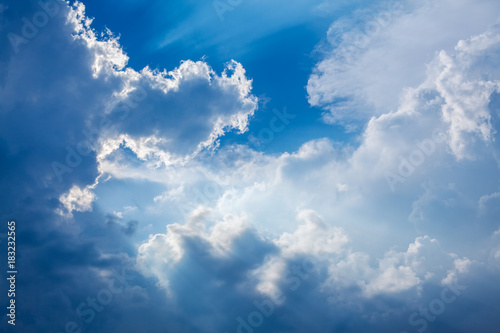 Dramatic clouds in sky with sun beams