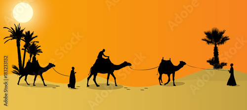 Silhouette of Caravan mit people and camels wandering through the deserts with palms at night and day. Vector Illustration.